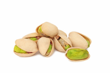 Stack of pistachios (isolated)