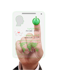 finger pressing the access card