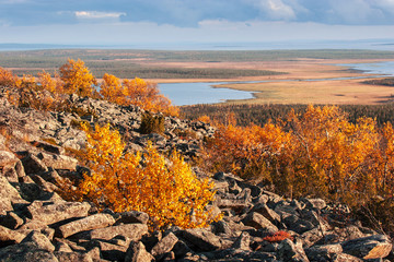 View from the top of a mountain over Lapland landscape in autumn
