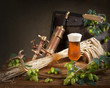still life with beer and hops