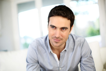 Portrait of handsome man with dark hair