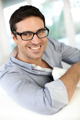 Handsome guy with eyeglasses on