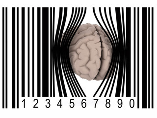 brain that gets out from a bar code