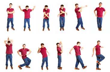 Collage with cool hip hop style dancer isolated on white