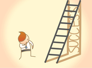 cartoon character of business man question on success ladder