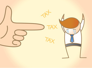 cartoon character of business man crying for tax robbery