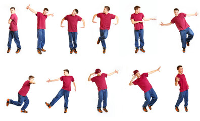 Collage with cool breakdancer isolated on white background