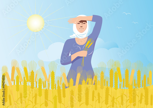 Smiling  girl  with ears of wheat  is worth a wheat field