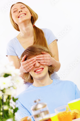 Young couple at home together