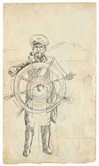 sea captain - a hand drawn illustration
