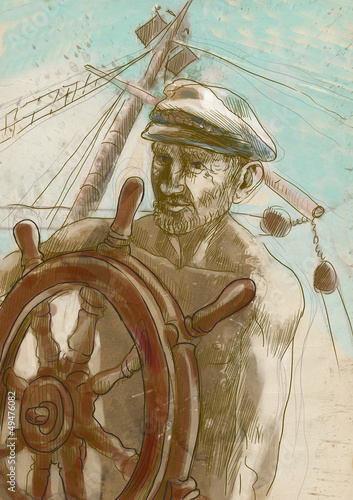 sea captain - hand drawing