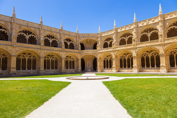 Cloister of Mosteiro dos Jeronimos in Lisbon, Portugal. UNESCO