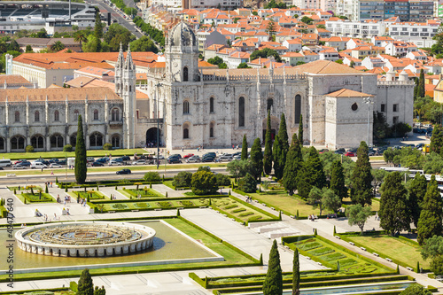 Aerial view of Mosteiro dos Jeronimos in Lisbon, Portugal