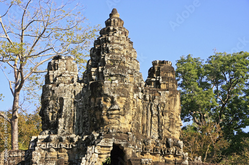 Stone faces of South Gate, Angkor Thom, Cambodia