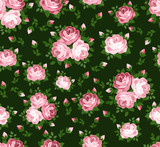 Seamless pattern with pink roses on green. Vector illustration.