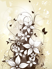 Abstract floral spring background with flowers and swirls