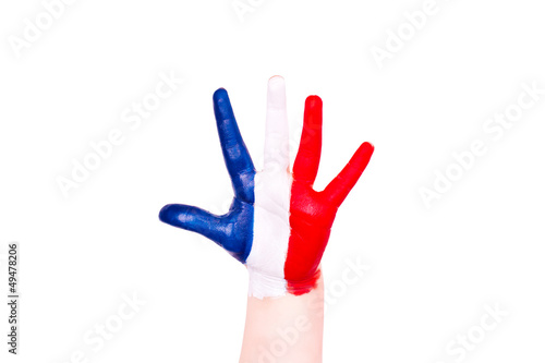 France flag on a hand. Travelling to France concept. Eurotrip.