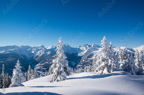 Leinwanddruck Bild Winter in den Bergen