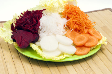 crude vegetables on a dish