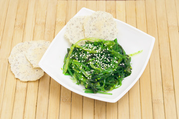 Salad from sea cabbage with sesam
