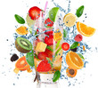 Obrazy na ścianę i fototapety : Fruit Cocktail with splashing liquid isolated on white