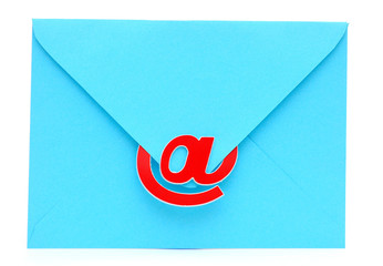 An envelope with an e-mail sign. Modern communication.