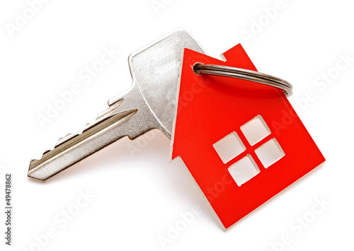 House shaped keychain isolated on white background