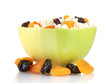 Cottage cheese in color bowl with fruits, isolated on white