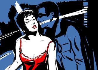 croquis couple homme et femme sensualité chambre nuit