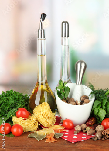 Composition of mortar, pasta and green herbals,