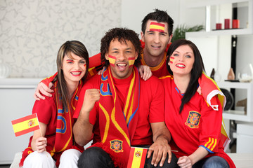 Four Spanish sports fans