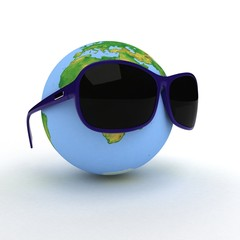 Globe is in dark eyeglasses