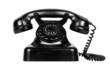 Vieux téléphone noir.