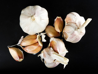 Garlic on black background