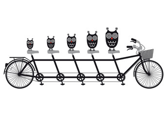 owls on tandem bicycle, vector