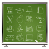 Education and school objects icons - vector icon set