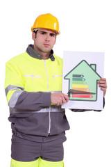 Concerned construction worker
