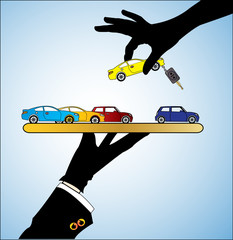 Illustration of Car Sale - A customer choosing a Car
