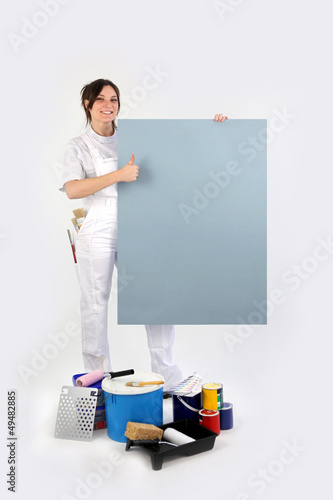 Thumbs up from a decorator with a blank board