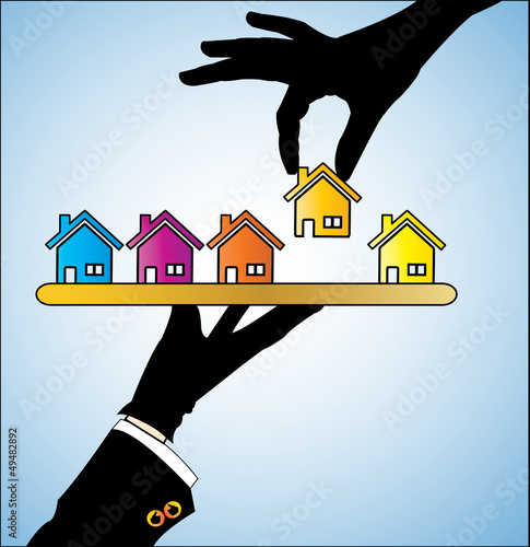 Illustration of buying a house - A customer choosing a house