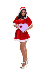hot lady Christmas giving a heart shaped gift