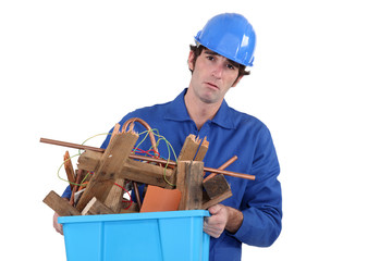 Unhappy tradesman