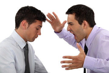 Man shouting at colleague
