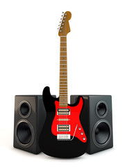 Electric guitar and speaker 3d