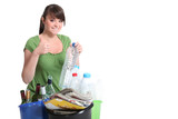 young woman waste sorting