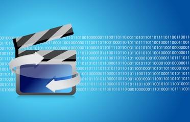 Film clap board cinema binary