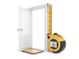 Tape measure and open door home.