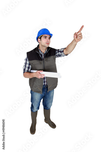 Entrepreneur standing on white background