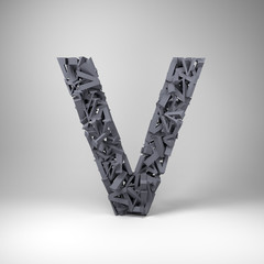 Letter V made out of scrambled small letters in studio setting