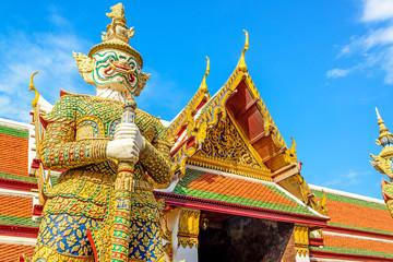The giant demon at Wat Phra Kaew temple in Bangkok, Thailand.